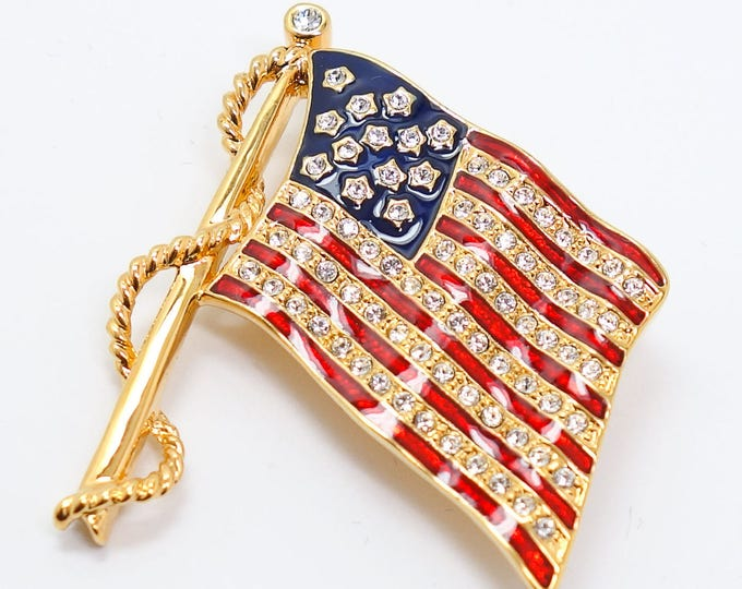Jackie Kennedy Flag Pin, Gold with Enamel and Crystal - #116