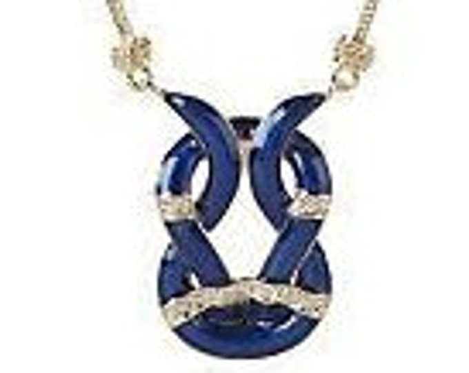 Jackie Kennedy Blue Enamel Necklace with Certificate