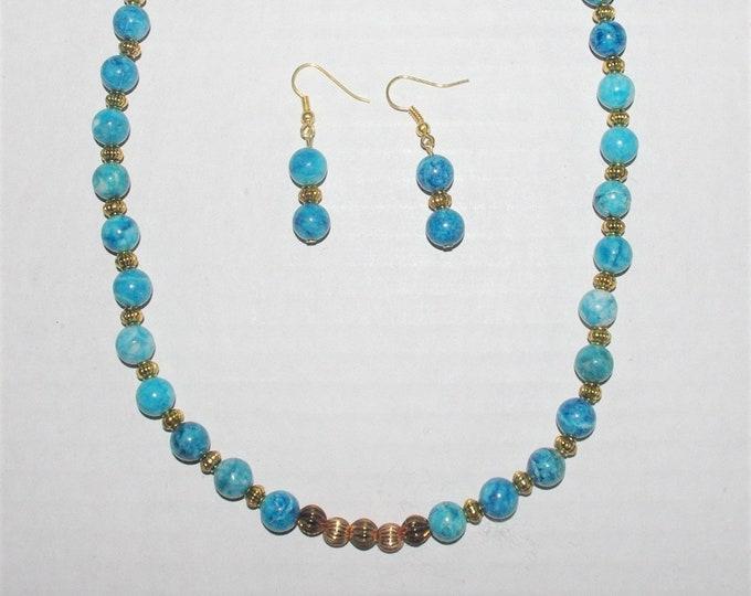 Blue Jasper Beaded Necklace Set - S098