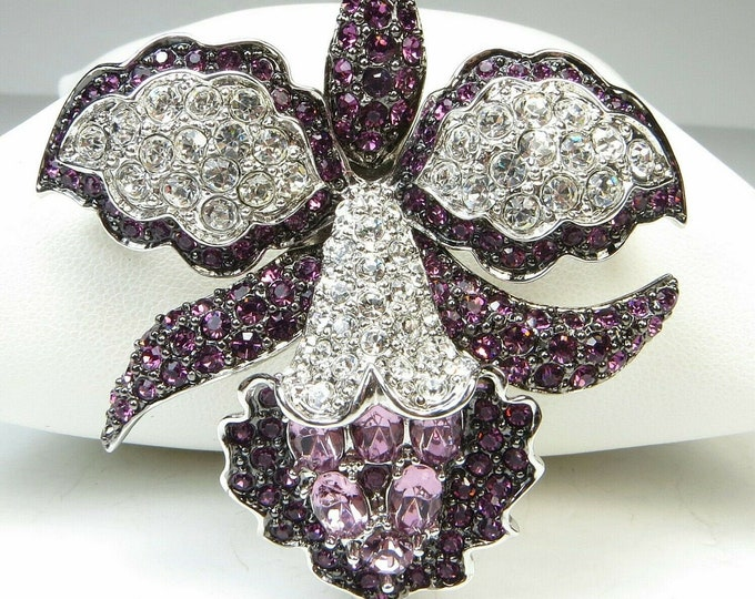 Nolan Miller Brooch - Purple Orchid with Crystals - S1556