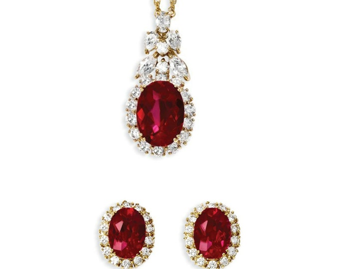 Jackie Kennedy Jewelry Set - Ruby Necklace and Earrings with Certificate