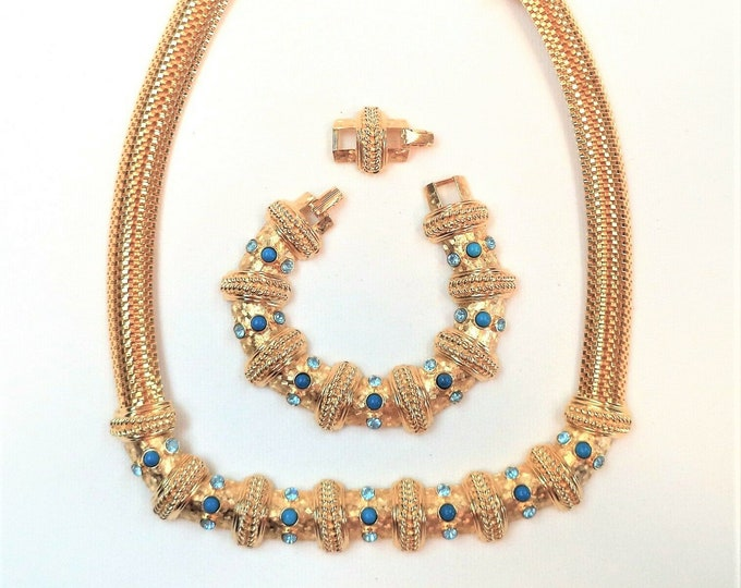 RARE Jackie Kennedy Jewelry SET - Necklace & Bracelet Gold Plated, Sky Blue Stones and Certificate - USA