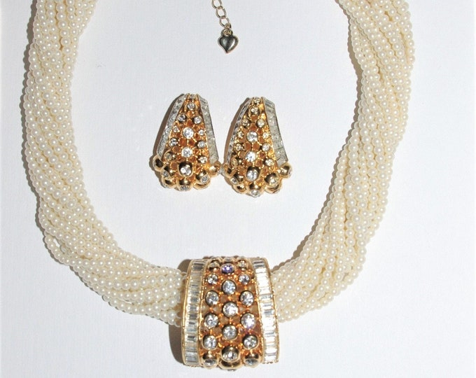 Elizabeth Taylor Jewelry Set - Crystal Necklace Slide / Enhancer and Matching Earrings - S3202