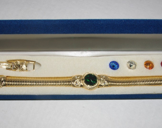 Jackie Kennedy Bracelet with 5 Changeable Stones - Size 7 or 8 with Certificate - 102