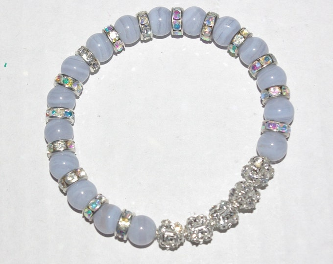 Blue Stretch Bracelet - Blue Agate with Crystals - S3126