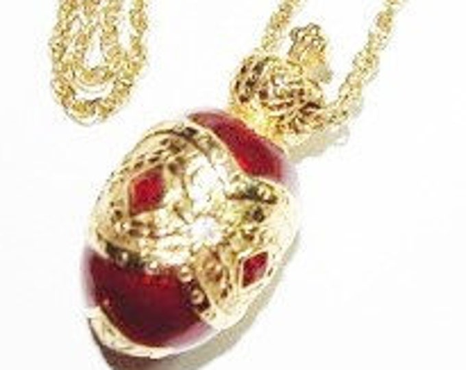 Joan Rivers Red Enamel Egg Necklace - S1821