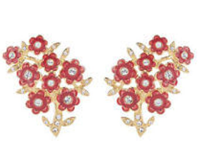 Jackie Kennedy Flower Earrings with Red Enamel and Crystals - Clip On - #15