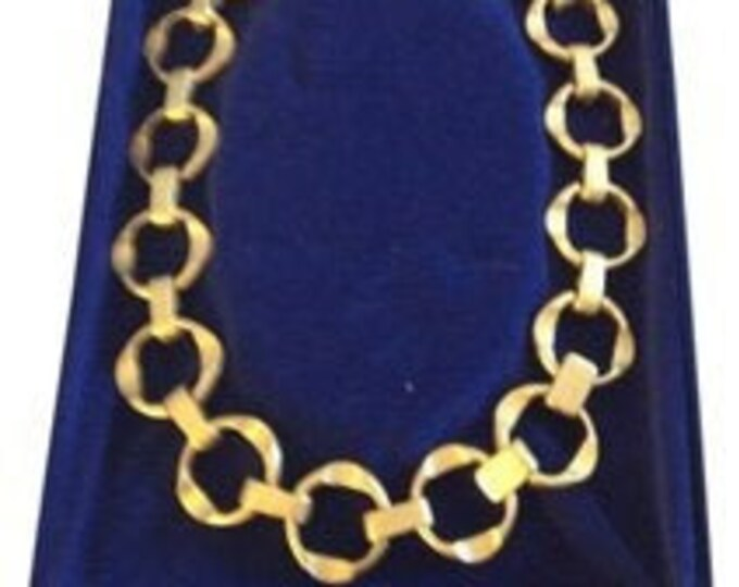 Jackie Kennedy Necklace, Gold Plated, Round Links  - 297