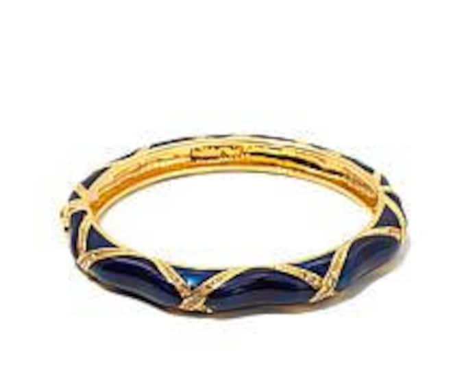 Audrey Hepburn Navy Blue Bangle Bracelet with Crystals - Size 6.5 - 323 tms1