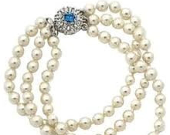 RESERVED FOR RENEE - Jackie Kennedy Pearl Bracelet with Sapphire Clasp and Certificate - 61 -Size 6.5