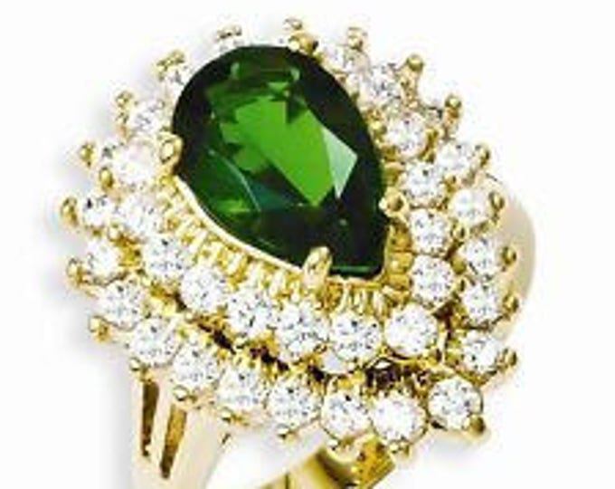 Jackie Kennedy Ring - Simulated Emerald and Diamonds -Sizes 7 and 8
