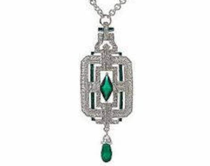 Jackie Kennedy Necklace - Art Deco Silver with Green Stones - 326
