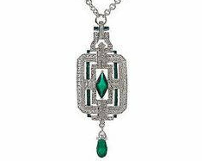 Jackie Kennedy Necklace - Art Deco Silver with Green Stones and Certificate