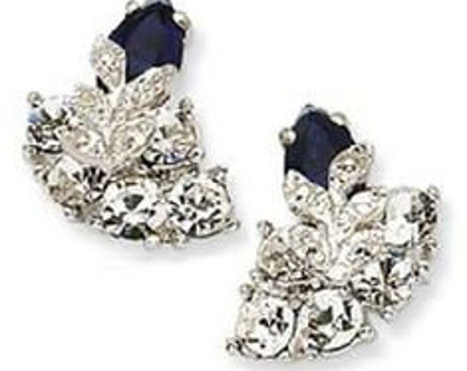 Jackie Kennedy Earrings - Crystal and Sapphire Snowflake -Pierced  -S007