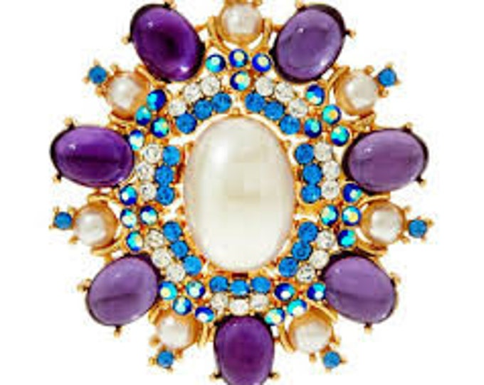 Joan Rivers Large Purple Brooch -  S2171