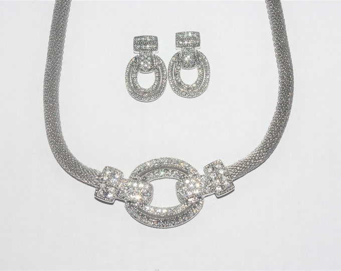 Jackie Kennedy Mesh Jewelry Set -3 pc Silver Necklace, Bracelet and Earrings