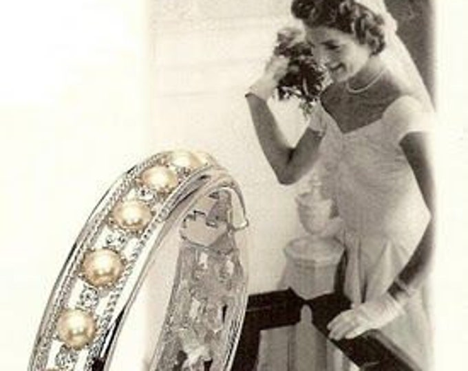 Jackie Kennedy Wedding Bracelet, Pearls and Simulated Diamonds - 135