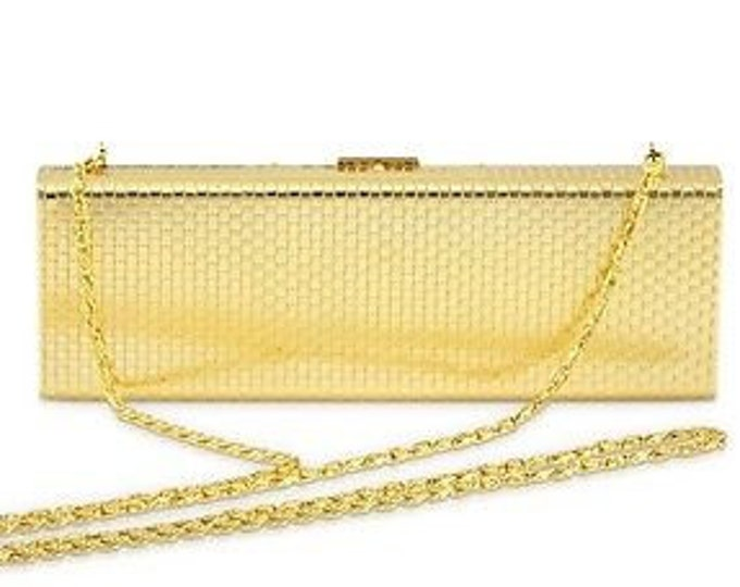 Jackie Kennedy Gold Plated Evening Bag, Clutch with Chain - tms1