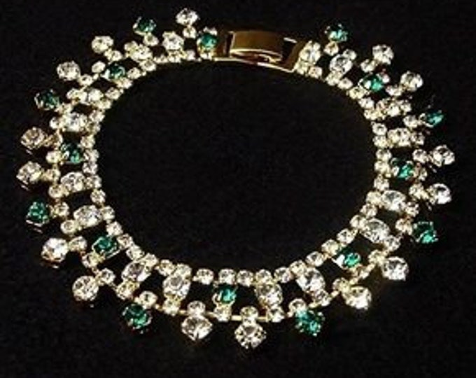 Jackie Kennedy Emerald Bracelet - Gold Plated, Stones - Size 7 or 8 - 414