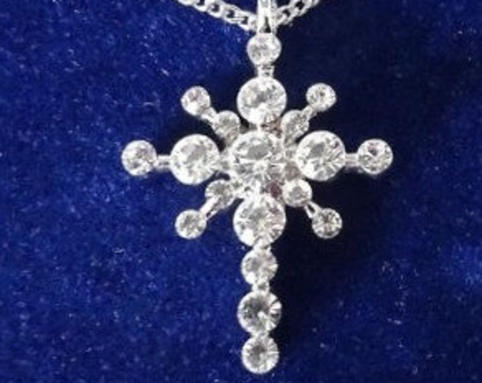 Jackie Kennedy Cross Necklace - Crystal and Silver with Box and Certificate
