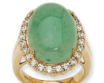 Jacqueline Kennedy 24K Gold Finish /& Vermeil Simulated Pink Kunzite Ring Size 5