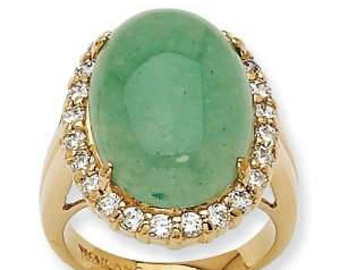 Jackie Kennedy Aventurine Ring - 24K Gold Plated, Simulated Stones, Box and Certificate - Sz 5