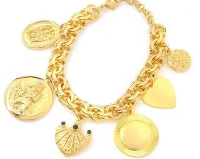JBK Charm Bracelet, Engraveable - 18K Gold Plated,  Sz 7 or 8 - 319 tms1
