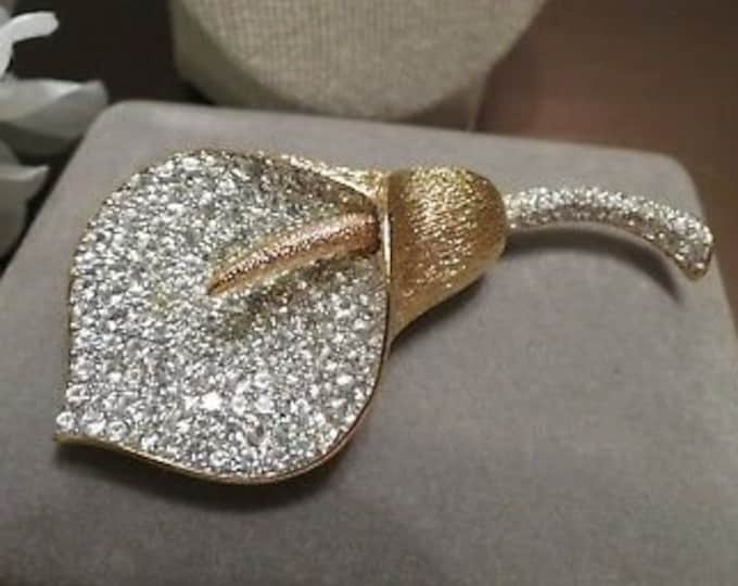 Nolan Miller Pave Crystal Calla Lily Brooch - S1555a