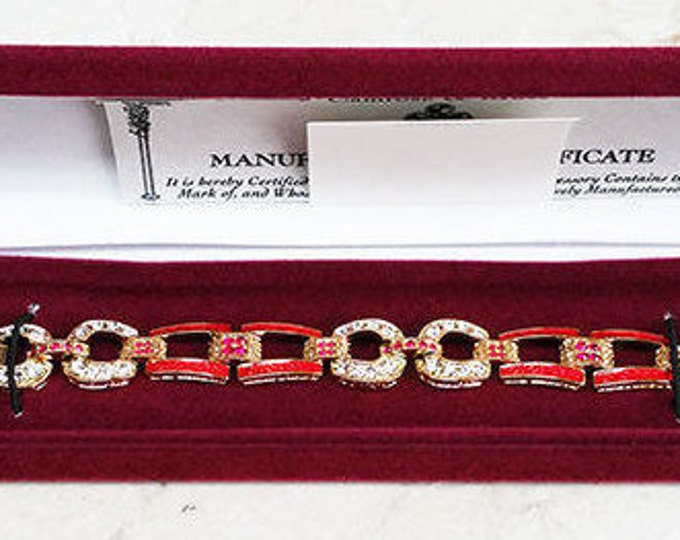 Jackie Kennedy Red Equestrian Bracelet- Size 7 or 8 - No. 76