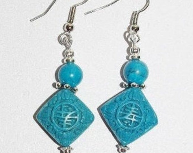 Cinnabar Pierced  Earrings - Blue  - S327
