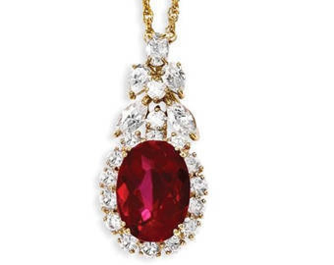 JULY BIRTHSTONE, JBK Ruby Necklace, Gold Plated - #221