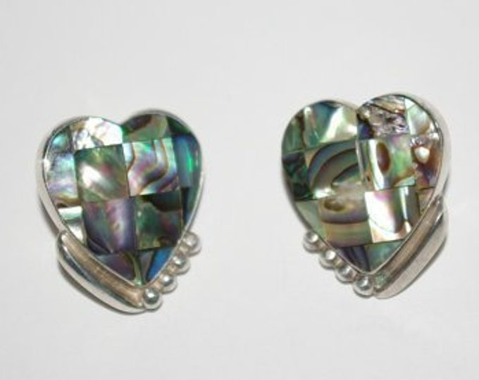 Abalone Heart Earrings  in Sterling Silver Pierced - S1355