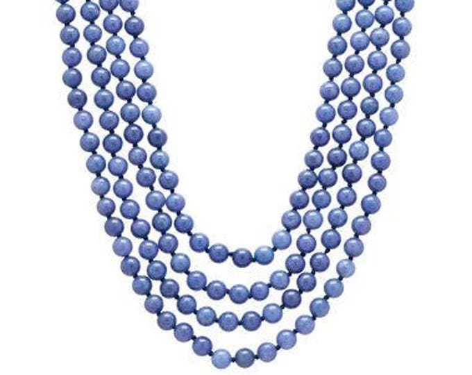 Jackie Kennedy Beaded Necklace - Denim Blue 4 Strands - 299 tms1
