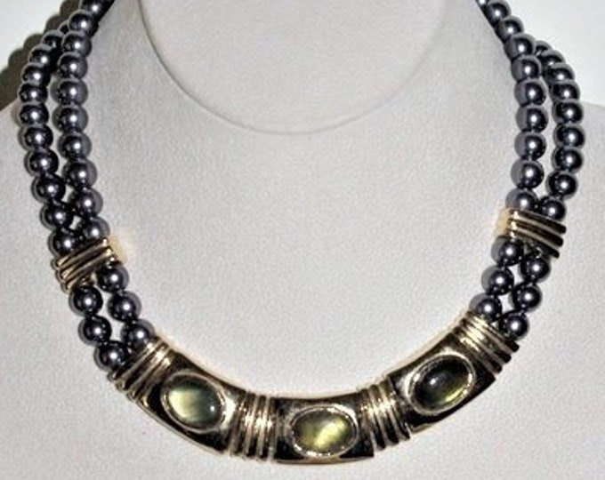 Joan Rivers Necklace - Gray Pearl Necklace with Abalone Cabochon Bib - S3122