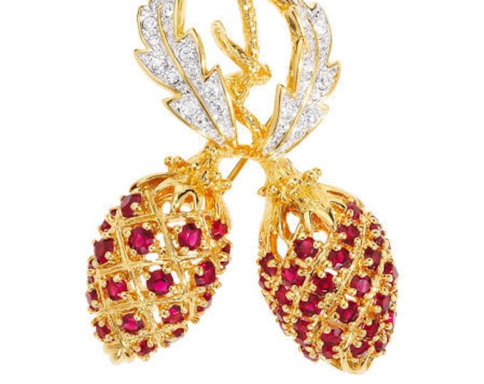 Jackie Kennedy Red Berry Pin  - Gold with Stones - 51