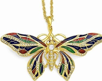 Jackie Kennedy Butterfly Necklace - Gold Necklace with Enameling - PIN PENDANT - 203