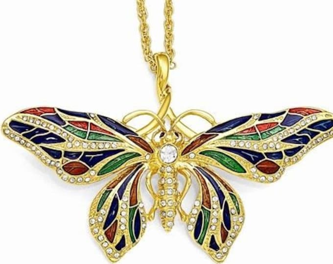 Jackie Kennedy Necklace - Butterfly Pin Pendant with Crystals and Certificate