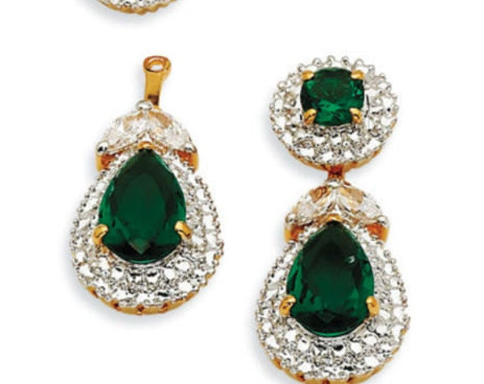Jackie Kennedy Emerald Pierced Earrings - Convertible - TMS1 - 1