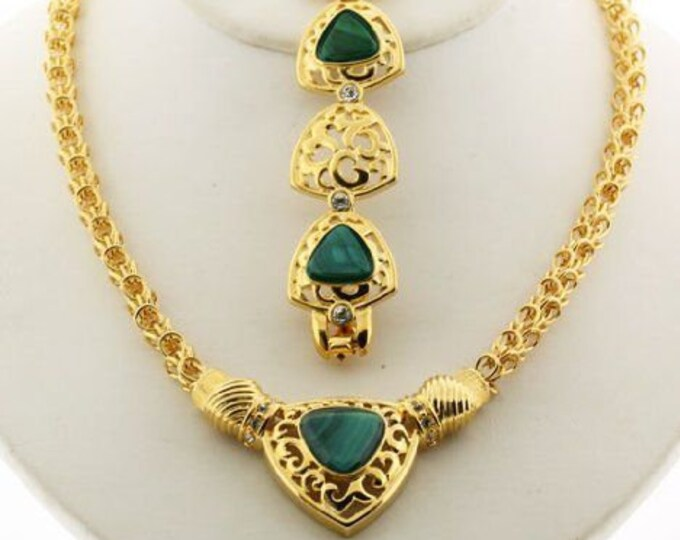 Jackie Kennedy Jewelry SET - Necklace and Bracelet Gold Plated with Malachite and Certificate