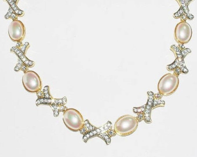 Nolan Miller Pearl and Crystal Necklace - S1554