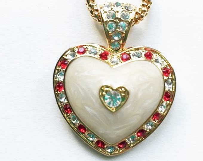 Jackie Kennedy Necklace - Enamel Heart with Stones with Certificate