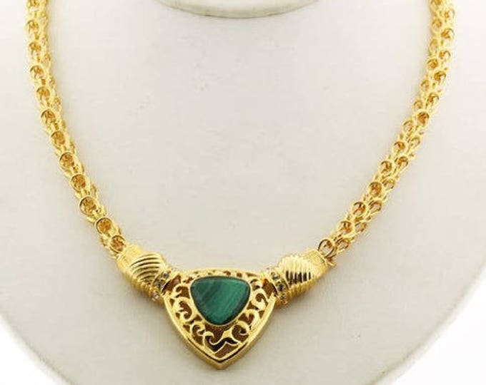 Jackie Kennedy Gold Necklace with Malachite - #200