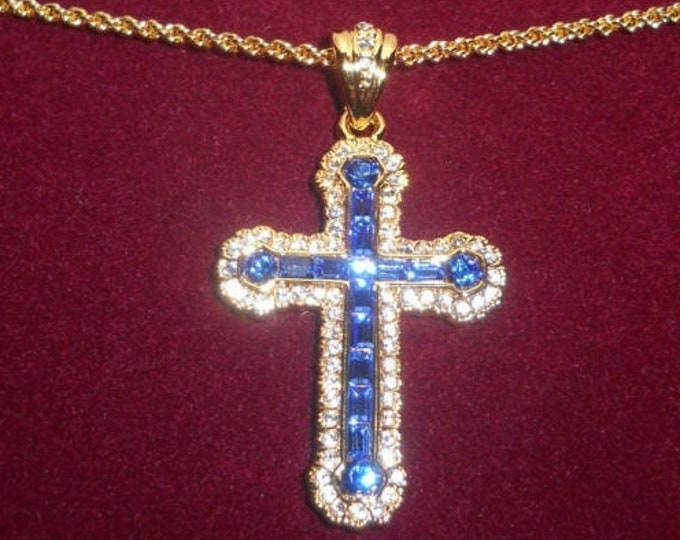 Jackie Kennedy Blue Cross Necklace - Gold Plated Cross with Stones