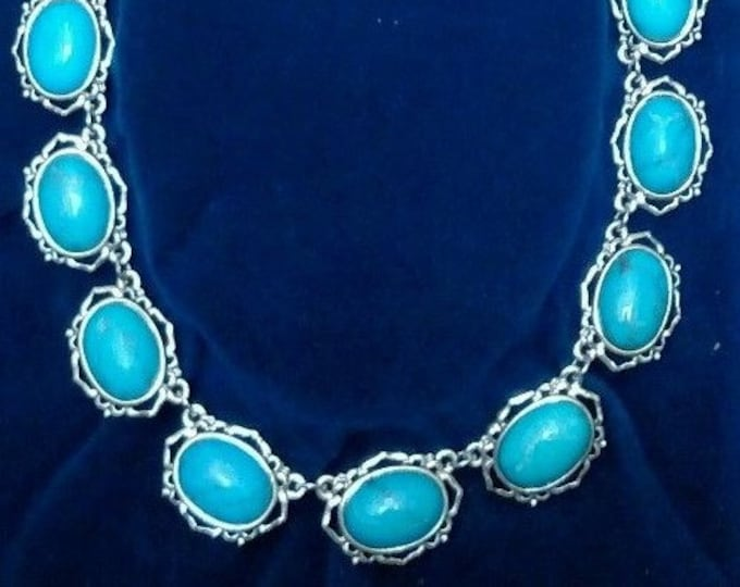 Jackie Kennedy Necklace - Turquoise in Silver with Certificate - TMS1