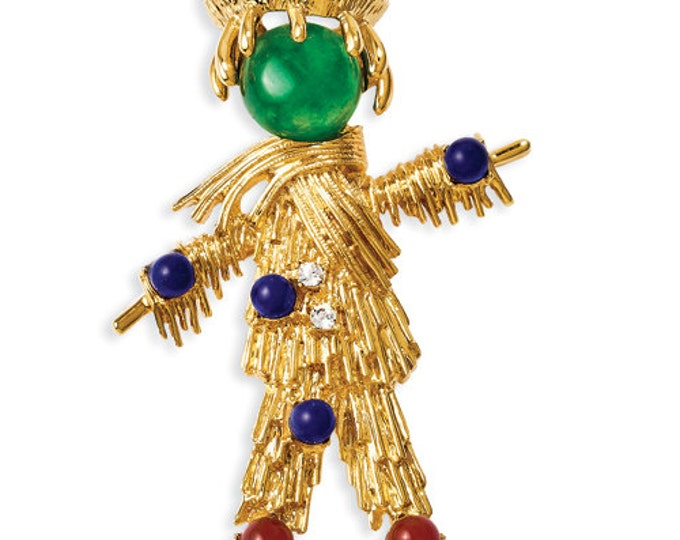 Jackie Kennedy Scarecrow Pin, 24K Gold Plated with Gemstones, Box and Certificate