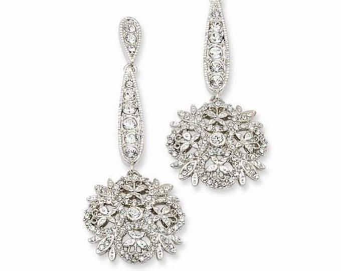 Jackie Kennedy Winter Crystal Earrings - Silver with Stones - Pierced - No. 240