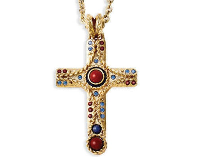 Jackie Kennedy Cross Necklace - Jasper Gemstone Cross Box and Certificate