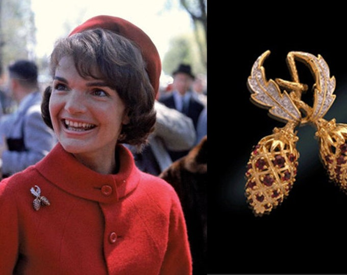 Jackie Kennedy Red Berry Pin - Gold with Simulated Rubies - 51