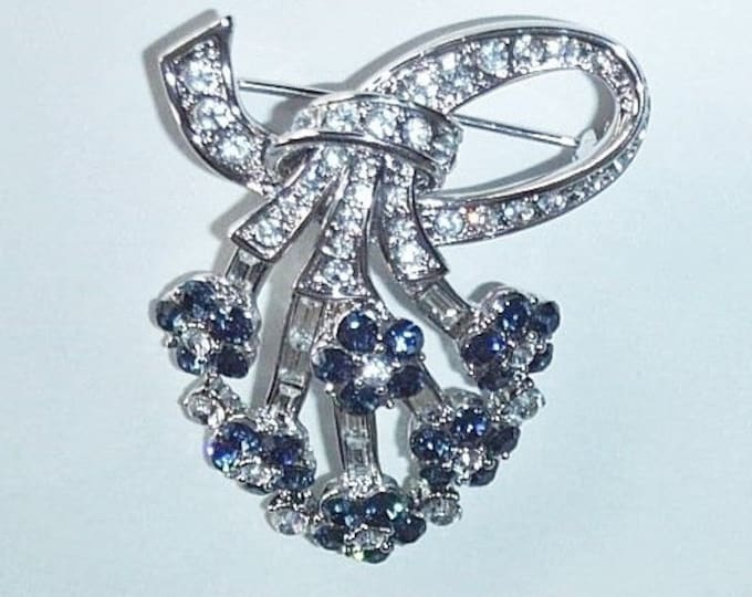 Jackie Kennedy Brooch - Silver Fan Shape with Simulated Sapphires - 156-7