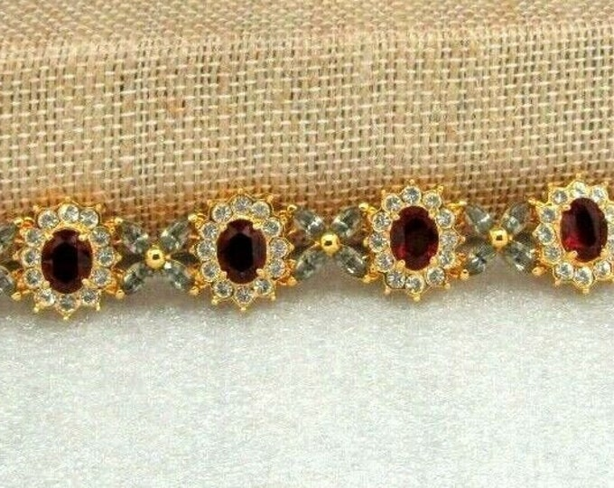 """Jackie Kennedy Ruby Bracelet with Crystals - SIZE 6.5"""" or 7.5 with Certificate - #184"""